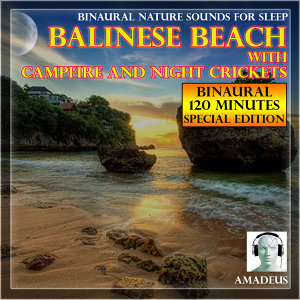 Binaural Nature Sounds for Sleep: Balinese Beach with Campfire and Night Crickets: 120 Minutes Special Edition