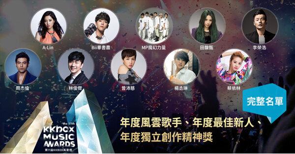 年度風雲歌手完整大公開!MP魔幻力量、吳汶芳、岑寧兒即將出席第11屆KKBOX風雲榜