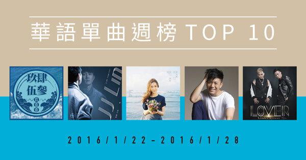 霸佔冠軍12週的是誰?華語單曲週榜 Top 10(1/22-1/28)