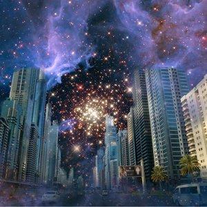 夜中繁星閃耀  一同仰望
